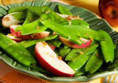 Snow Peas with Apples & Ginger